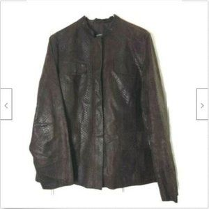 Alfani brown leather snakeskin textured coat